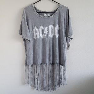 AC/DC Gray Acid Wash Graphic Fringe Top New